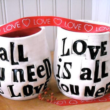 Personalized ALL You Need Is Love Mugs - Wedding Bride & Groom 2 Cup Set Table Settings - HandMade TO ORDER Custom Rustic Coffee Cups