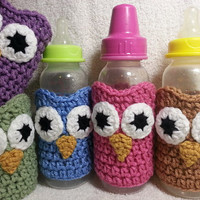 Crochet Owl Baby Bottle Cozy Sleeve - Choose From 5 Colors - Perfect Baby Gift