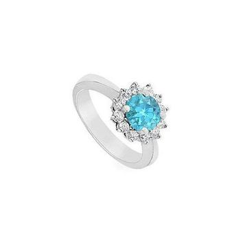 MDIGMS9 Blue Topaz and Diamond Ring : 14K White Gold - 1.50 CT TGW