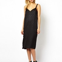 ASOS Cami Dress In Jacquard With Lace Trim