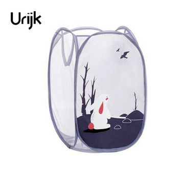 Urijk Sundries Dirty Clothes Basket Boxes Cartoon Large Capacity Storage Basket Storage Barrels Fabric Folding Laundry Basket