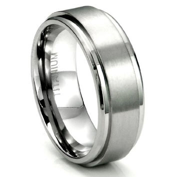 Men's Titanium 8MM Flat High Polish/Brush Finish Wedding Band Ring w/ FREE gift box (Sizes 7 to 13.5) | FREE ENGRAVING