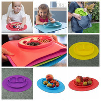 9 Colors Safe One-Piece Silicone Divided Dish Toddler Kids Food Placemat Plates
