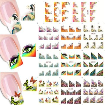 1sets 11designs 3d DIY Designs New French Tips Printing Pretty Nail Art Water Transfer Stickers Decals Manicure Tools LAB100-110