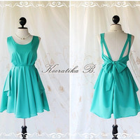 A Party V Shape - Cocktail Prom Party Dinner Wedding Night Backless Dress Mint Blue Full Lined Back Bow Tie Sexy Charming Looks