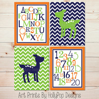 Nursery Decor Baby Deer Fawn Nursery Modern Baby Boy Nursery Navy Blue Lime Green Orange Nursery Set of 4 Nursery Prints ABC Number #0823