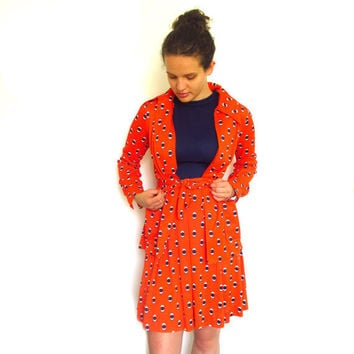 1960s Dress & Jacket Orange and Blue Stewardess by ItchforKitsch