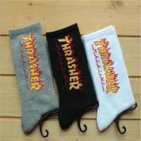 DCCK7BE unisex Socks Fashion THRASHER Socks Men Women Summer Style Hemp Harajuku Socks