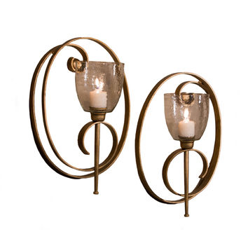 Dessau Home ME3008 Antique Gold Oval Scroll Candle Wall Sconce, Set of 2