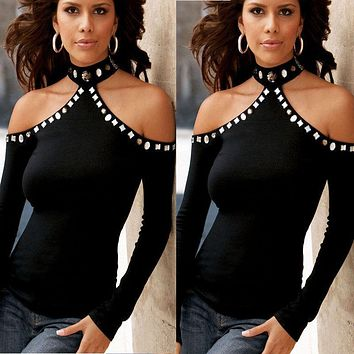 Sexy Women Long Sleeve Off Shoulder Blouse Beads 2017 Summer Casual Bodycon Cotton Pearls Tops Hot Clothes