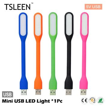 TSLEEN 1Pcs Bright Flexible Mini USB LED Light Lamp For Laptop Power Bank Computer Desk Reading Colorful Lamps Flashlight
