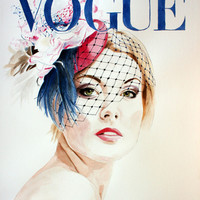 Vogue Magazine Cover. Hat by Ella Gajewska. Fashion Illustration Art Print by Feeling Artsy