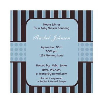 Blue and Brown Stripe Baby Shower Invitation from Zazzle.com