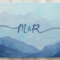 Mountain Wedding Guestbook Canvas / Personalized Guestbook Alternative  / 11x14, 16x20, or 20x24