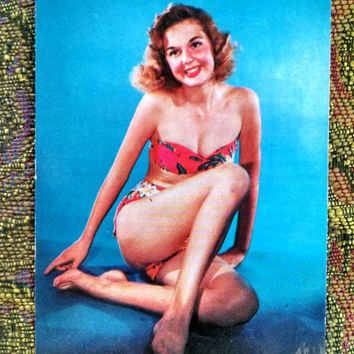 Vintage Pin Up Post Card, Bikini Beach Beauty, 1960s Postcard