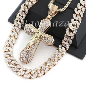 "ICED OUT 14K GOLD PT JESUS CROSS 18"" TENNIS CHAIN 16"" 30"" CHOKER CUBAN CHAIN S26"