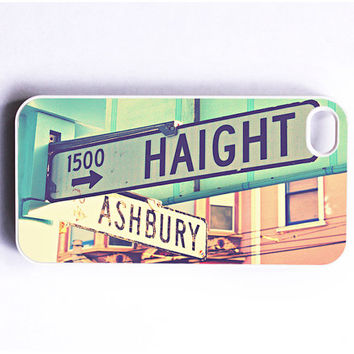 Iphone case. Haight Ashbury Street Signs. Retro. Vintage. Pink. Blue. Aqua. 4 4s case. iphone 5 case. San Francisco. Iphone cover