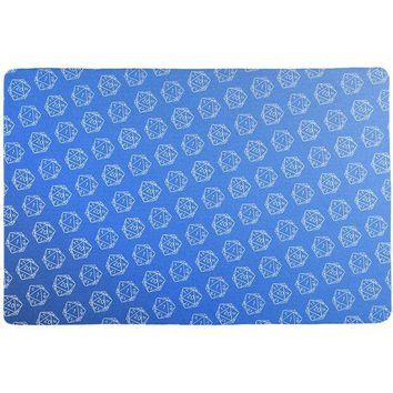 PEAPGQ9 D20 Gamer Critical Hit and Fumble Blue Pattern All Over Game Dice Mat