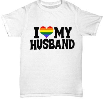 Love My Husband Rainbow T-Shirt Gift for Coupling