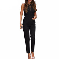New Bodycon Jumpsuits 2017 Womens Sleeveless Lace Patchwork Rompers Playsuits Black Pants Plus Size XS-4XL
