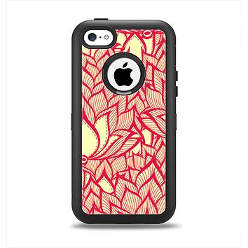 The Sketched Red and Yellow Flowers Apple iPhone 5c Otterbox Defender Case Skin Set