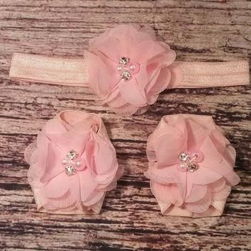 Light Pink Chiffon Baby Headband and Barefoot Sandal Set