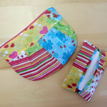 Small Pleated Zipper Pouch and Tissue Holder ~ Summer Fruit and Flowers
