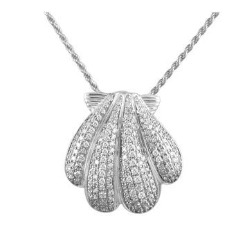 RHODIUM PLATED 925 STERLING SILVER HAWAIIAN SUNRISE SHELL PENDANT CZ 21.50MM