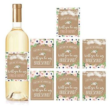 Kraft Floral Will You Be My Bridesmaid Stickers or Wine Bottle Labels Bridal Party Favors Maid of Honor Proposal Ideas Ask Your Bridesmaids To Be in Wedding Gifts I Cant Say I Do Without You