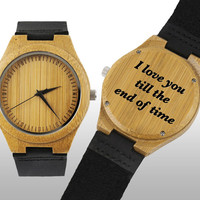 Engraved Watch, Wood Watch, Engraved Wood Watch, Wooden Watch, Bamboo Wood, Black Leather Strap, Personalized Gift, Customized