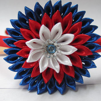 4th of July headband Girls hair accessories Fourth of July Baby headband Patriotic headband Infant headband Kanzashi flower headband