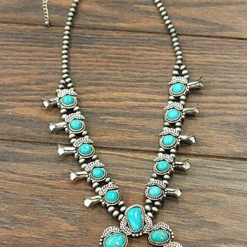 Natural Turquoise Stone Squash Blossom Necklace
