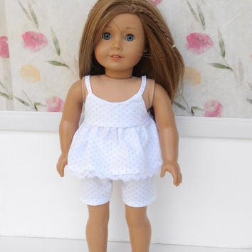 18 Inch Doll Clothes, Polka Dot Doll Pajamas, Doll Shorty Pajamas, Doll Pyjamas, Summer Doll Clothes