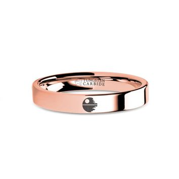 Star Wars Death Star II Laser Engraved Rose Gold Tungsten Ring