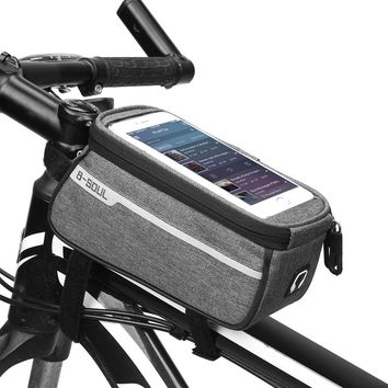B-SOUL Waterproof MTB Road Bicycle Bike Front Tube Bag 6inch Phone Touch Screen Saddle With Headphone hole Cycling Accessories