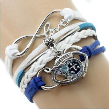 Infinity Love Tennessee Titans Multi-Strand Bracelet Football Team Charm Bracelets & Bangles Sport Women Men Jewelry 6PCS