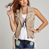 Fiona Sleeveless Faux-Suede Moto Vest