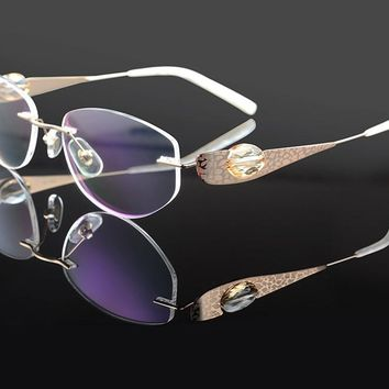Luxury woman glasses frame titanium flex crystal clear eyeglasses fashion brand designer diamond rhinestone rimless 1709 quality