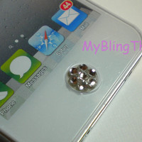 Clear Crystal BLING Home Button Sticker for Apple iPhone 3G 3GS 4 4S iPad 1 2 3 made with Swarovski Elements Rhinestone Diamond