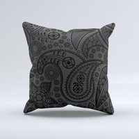 Dark Gray & Black Paisley Ink-Fuzed Decorative Throw Pillow