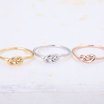 2017 New Fashion Jewelry Gold Silver Simple Knuckle Heart Knot Rings Gold Rings For Women  R022