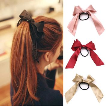 Ponytail Holder Satin Ribbon Bow Elastic Hair Band