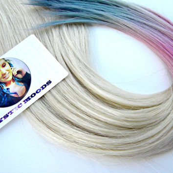 Platinum / Babygirl Pink / Periwinkle Blue Double dip-dye 18''-20'' Dip-Dye Human Hair Extensions //Clip In