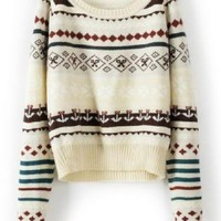 Anchor Floral Print Beige Loose Long Sleeve Sweater