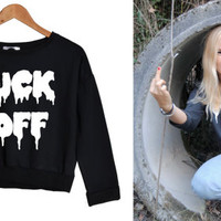 FCUK OFF crop SWEATER sweatshirt jumper top hipster grunge retro vtg paris fashion tumblr style trend swag dope cara print funny new punk