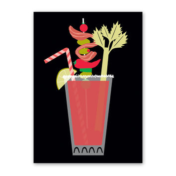 ROCK SCISSOR PAPER BLOODY MARY BIRTHDAY CARD