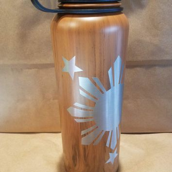 808 HI-DR8, Flask, 40oz, Wood Philippines Star No Tribal Flask