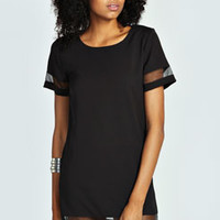 Eliza Sheer Panel Shift Dress