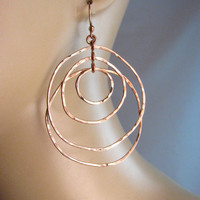 Large Bronze Multi Hoop earrings - Organic Circle - 4 Hoop Asymmetric Circles - Skinny Hoops -  Modern Romance Collection