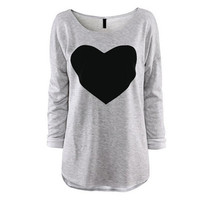 Fashion Summer Women Long Sleeve T Shirt Tops And Tees Cute Sweet Style Heart Printed Top Spring Autumn Lady Tshirt Tops